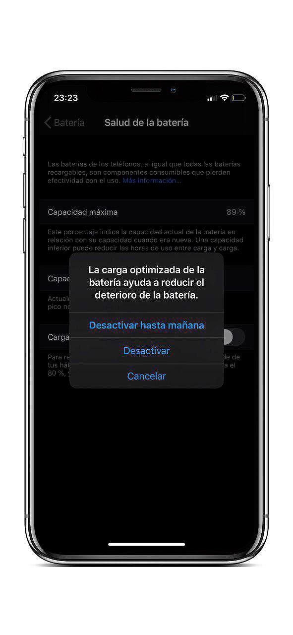 Ejemplo carga optimizada para el iPhone e iOS 13